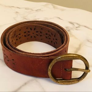 Lucky Brand Perforated Brown Belt Goldtone Buckle